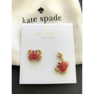 KATE SPADE Shore Thing Pave Crab Stud Earrings